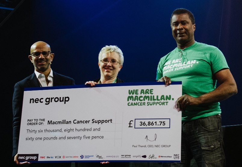 Cheque presentation (L-R) NEC Group CEO Paul Thandi with Macmillan Cancer Support representatives Cheryl Attwood & Damian Alexander