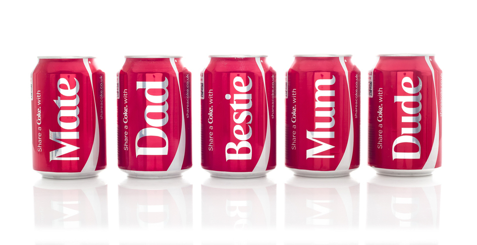 'Share a Coke' Mass Personalisation Campaign. Image credit: urbanbuzz / Shutterstock.com